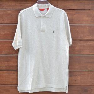 IZOD Beige Short Sleeve Polo Pique Shirt  Size S